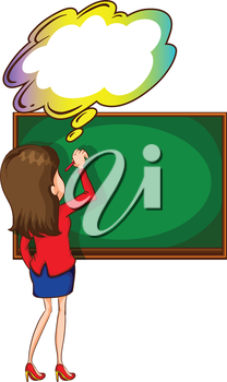 Illustration of a teacher writing at the board with an empty thought on a white background