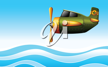 Illustration of a green plane above the ocean