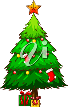 Illustration of a simple sketch of a christmas tree on a white background