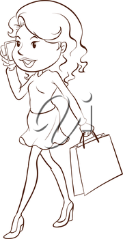 Illustration of a simple sketch of a girl shopping on a white background