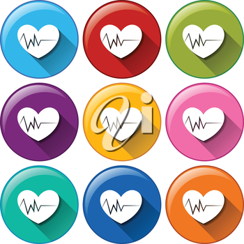 Illustration of the round icons with hearts on a white background