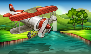 Illustration of an airplane flying over the river