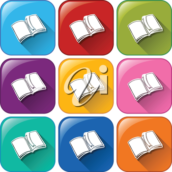 Illustration of different color school icons