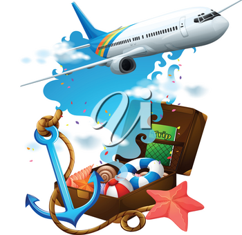 Airplane flying and suitcase illustration
