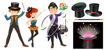 Magicians with magic wand and hat illustration
