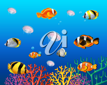 Underwater scene with fish swimming illustration
