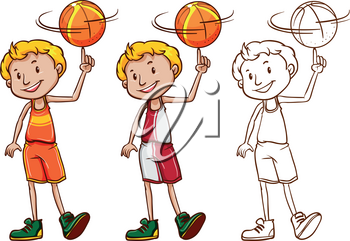 Drafting character for basketball player illustration