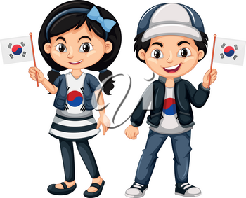 South Korean boy and girl with flags illustration