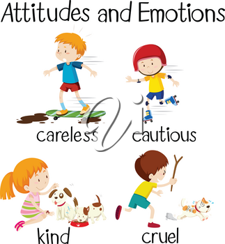 English word attitudes and emotions illustration