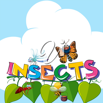Word insects with many insects on the leaves illustration