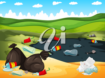 Rubbish in river and on the ground illustration