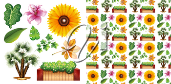 Seamless background design with isolated set of gardening illustration