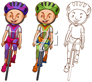 Doodle character for man cycling illustration