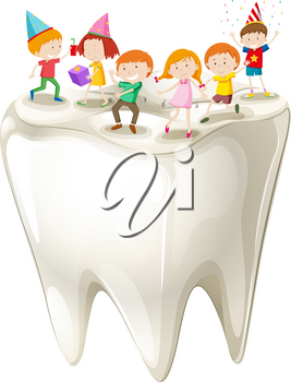 Happy children with clean tooth illustration