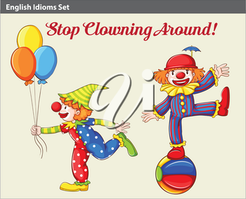A poster showing two playful clowns