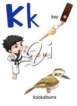 Letter K for key, kick and kookaburra on a white background