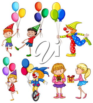 People in a party with a clown on a white background