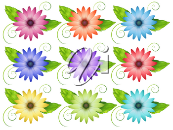 Set of colorful flowers on a white background