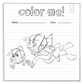 A worksheet with a boy and a clock running on a white background