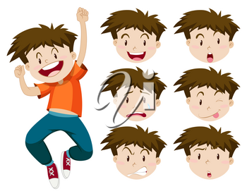 Boy with facial expressions illustration