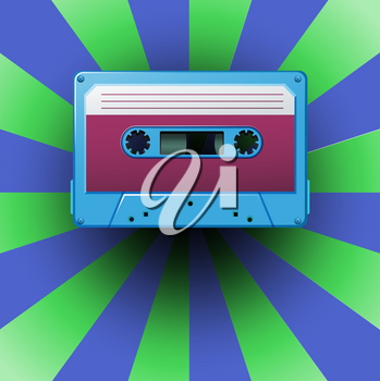Blue cassette on blue and purple background