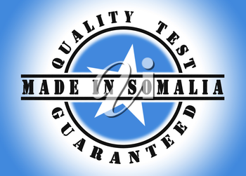 Quality test guaranteed stamp with a national flag inside, Somalia