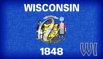 Linen flag of the US state of Wisconsin with it's abbreviation stitched on it