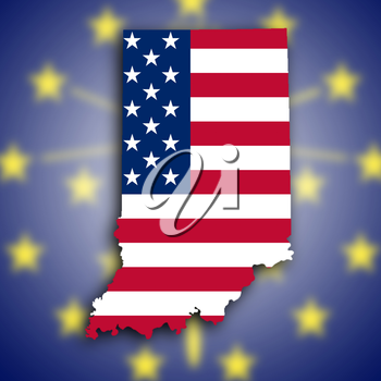 Map of Indiana, filled with the national flag
