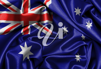 Satin flag, three dimensional render, flag of Australia