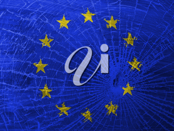 Isolated broken glass or ice with a flag, EU