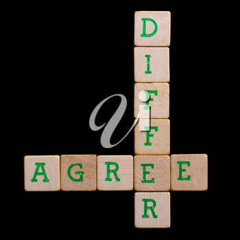 Letters on old wooden blocks (agree, differ)