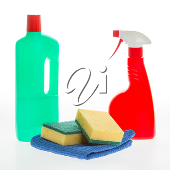 House cleaning product. Plastic bottles with detergent and sponge isolated on white background