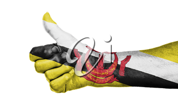 Old woman giving the thumbs up sign, isolated, flag of Brunei