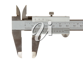 Old used caliper (an instrument for measuring) isolated on white