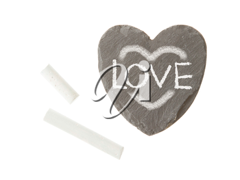 Heart shaped piece of slate over white, love