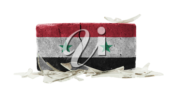 Brick with broken glass, violence concept, flag of Syria