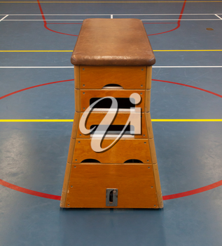 Very old wooden equipment in a school gym, Holland