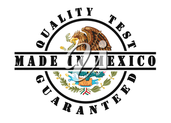 Quality test guaranteed stamp with a national flag inside, Mexico