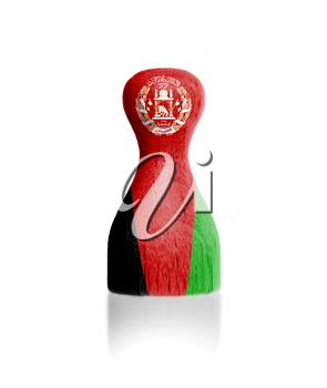 Wooden pawn with a painting of a flag, Afghanistan