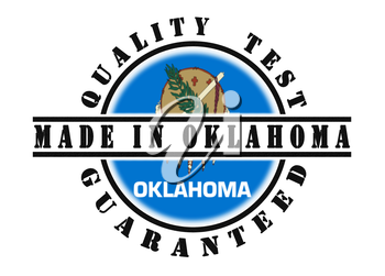 Quality test guaranteed stamp with a state flag inside, Oklahoma