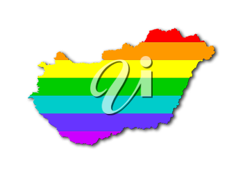 Hungary - Map, filled with a rainbow flag pattern