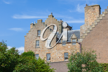 Beautiful old Scottish country house, blue sky