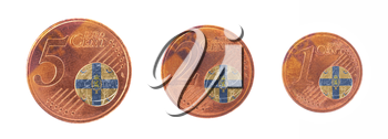 Money concept - 1, 2 and 5 eurocent, flag of the royal dutch family