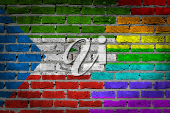 Dark brick wall texture - coutry flag and rainbow flag painted on wall - Equatorial Guinea