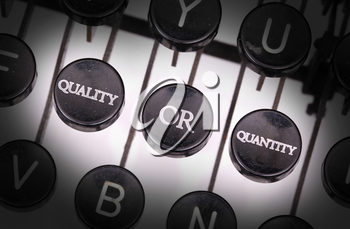 Typewriter with special buttons, quality or quantity