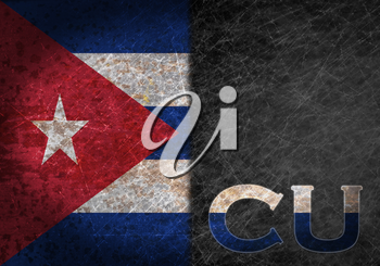 Old rusty metal sign with a flag and country abbreviation - Cuba