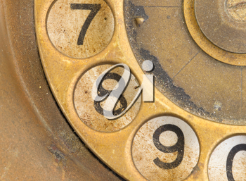 Close up of Vintage phone dial, dirty and scratched - 8