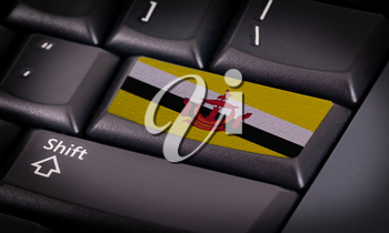 Flag on button keyboard, flag of Brunei