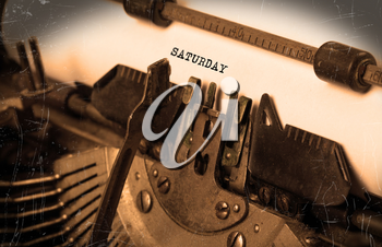 Saturday typography on a vintage typewriter, close-up