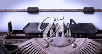 Vintage inscription made by old typewriter - May
